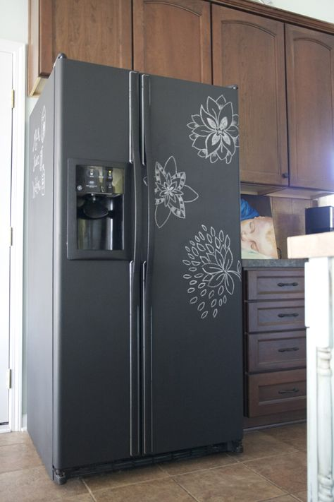 perfect for an old fridge....Took about 3 coats of chalkboard paint.  Total cost: $13 [for kids]