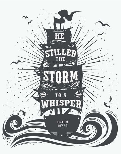 Photo of He Stilled The Storm To A Whisper – Psalm 107:29. Children's Decor – Kids Room Decor – Nautical Deco