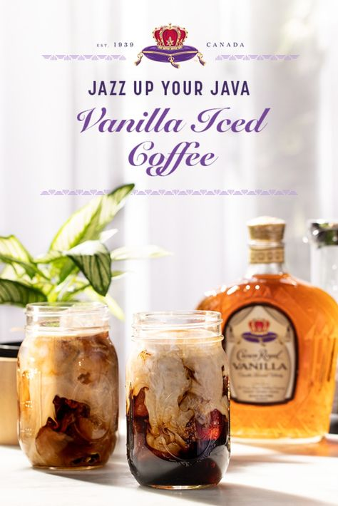 Coffee breaks will never be the same. You and your brew deserve a little boost with Crown Royal Vanilla.  Combine 1 oz Crown Royal Vanilla, 1.5 oz cold brew coffee, 1 oz heavy cream, .5 oz maple syrup, and ground cinnamon in a shaker. Strain into a mason jar & enjoy. Cocktails, Party Drinks, Cocktail Drinks, Fun Drinks, Cocktail Recipes, Alcoholic Drinks, Beverages, Bourbon Drinks, Mixed Drinks
