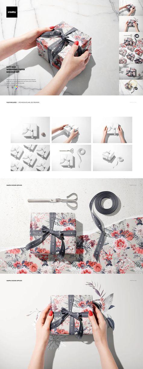 Gift Box Wrapping Paper Mockup Set