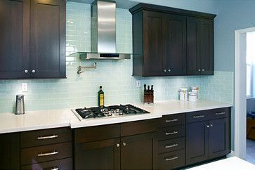Dark Cabinet Backsplash Images Dark Cabinets Blue Backsplash