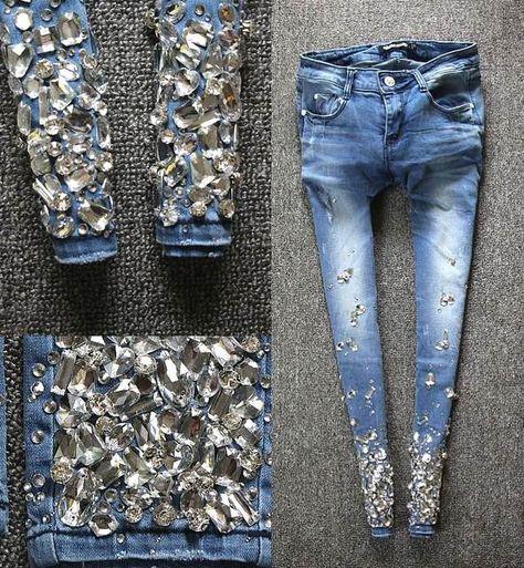 2017 European spring Diamond Crystal beading pencil jeans pants elastic light blue diamonds jeans|Jeans| |  - AliExpress