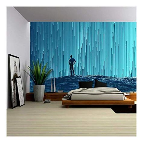 Wall Mural Blue Misted Forest with the Sun Peaking Through 100x144 inches