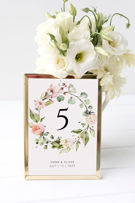 Floral Wreath Wedding Table Number. Help your friends