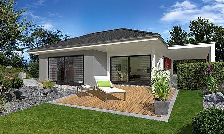 Bungalow Mit Carport Gartenansicht Streif Haus Haus Bauen Bungalow Bauen