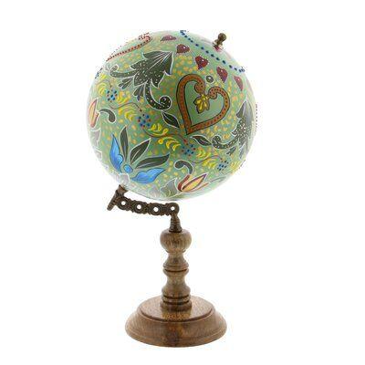 Cole Grey Globe Sculpture Globe Wooden Hearts Painted Globe