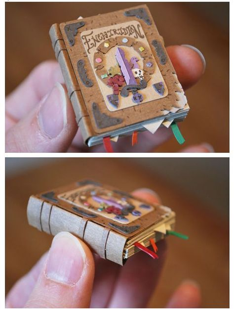 Miniature book art with tiny bookmarks by Cameron Garland - Miniature book art with tiny bookmarks by Cameron Garland - Miniature Crafts, Miniature Dolls, Poupées Our Generation, Mini Craft, Handmade Books, Miniture Things, Cute Crafts, Book Making, Bookbinding