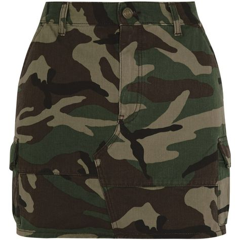 Saint Laurent Camouflage-print denim mini skirt CLP) ❤ liked on…