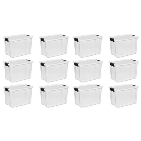 Sterilite Corporation 12 Pack Sterilite 7 5 Gallon 30 Quart Clear Tote With Latching Lid 100171 Car Storage Storage Ebay
