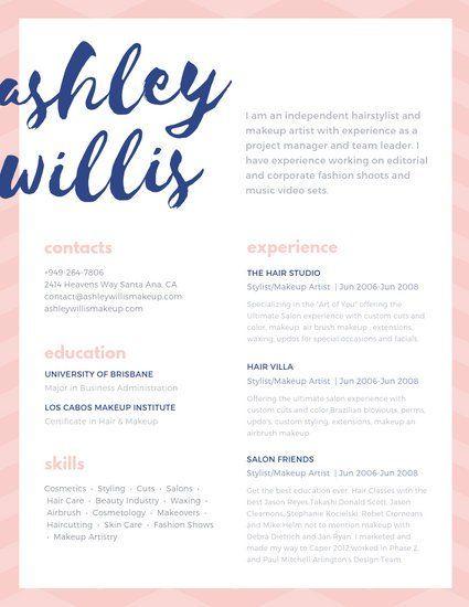 Customize 209 Creative Resume Templates Online Canva Makeup Artist Resume Artist Resume Freelance Makeup Artist
