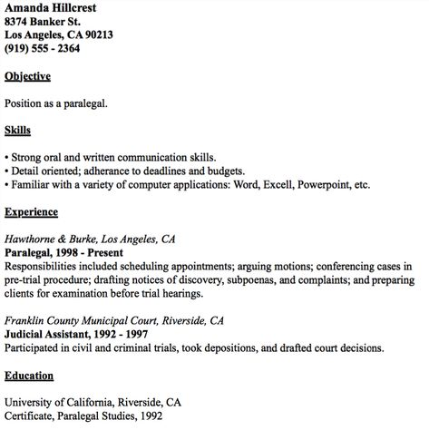 Example Of Paralegal Resume -    resumesdesign example-of - judicial assistant sample resume