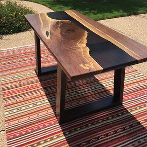 Table Berns Table De La Riviere Resin Table Bois Mobilier De