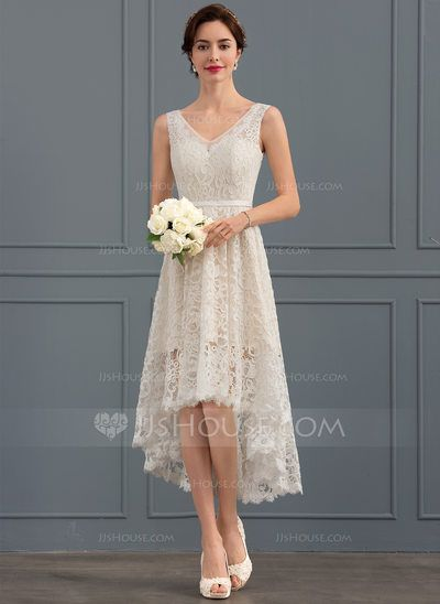 Au 248 00 A Line V Neck Asymmetrical Lace Wedding Dress Jj S House Simple Wedding Dress Casual Casual Wedding Dress Casual Wedding Dress Short