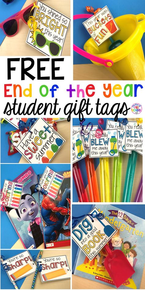 End-of-the-Year Student Gifts Little Learners will LOVE (free printables) - Pocket of Preschool - End of the year student gift tags (free printables) using cheap items from the dollar store and Target Dollar Spot. Pocket of Preschool Source by mracruz Preschool Gifts, Kindergarten Classroom, Preschool Activities, Kindergarten Gifts, Classroom Ideas, End Of Year Activities, Future Classroom, Preschool Teachers, Preschool Education