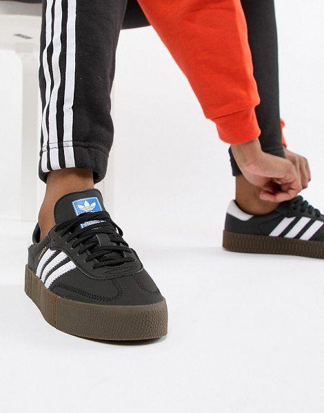 adidas Originals samba rose sneakers in black with dark gum sole ...