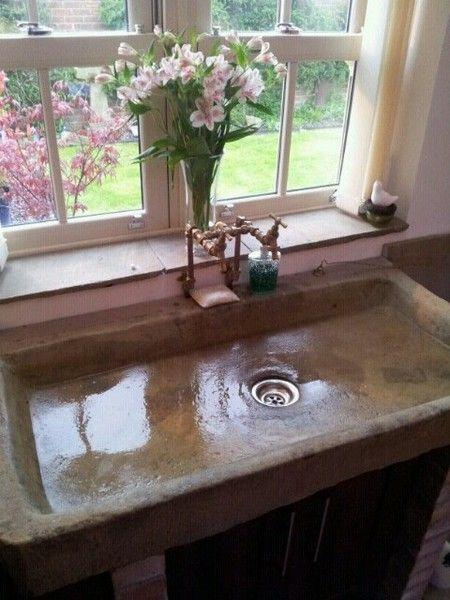 Kitchen sink stone trough & taps in 2019 | Farmhouse sink ...