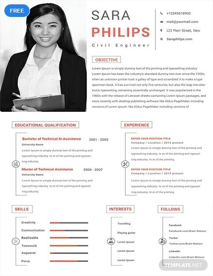 Free Civil Engineer Sample Resume Cv Template Word Doc Psd Indesign Apple Mac Pages Publisher Civil Engineer Resume Sample Resume Templates Engineering Resume Templates