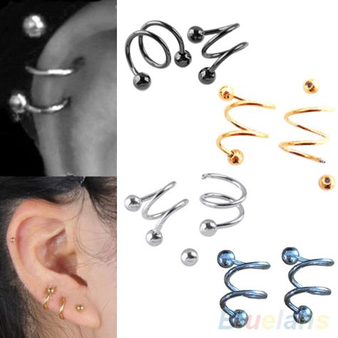 abce7f7b3 Punk Stainless Steel S Spiral Helix Ear Stud Lip Nose Ring Cartilage  Piercing 2MRW(China (Mainland))