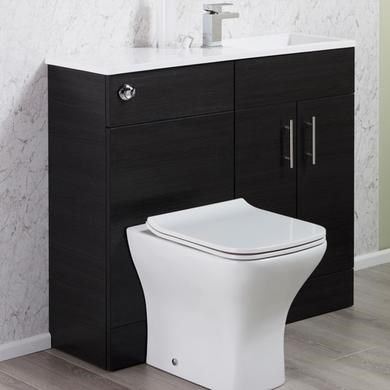 Micro Black Ash Slimline Bathroom Vanity Unit With Toilet And Basin Basin Vanity Unit Vanity Units Small Toilet Design