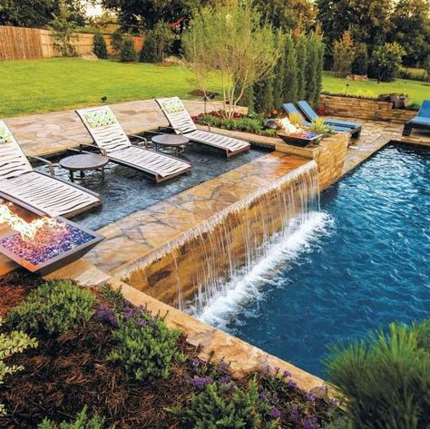Waterfall swimming pool design ideas. #swimmingpooloutdoorideas