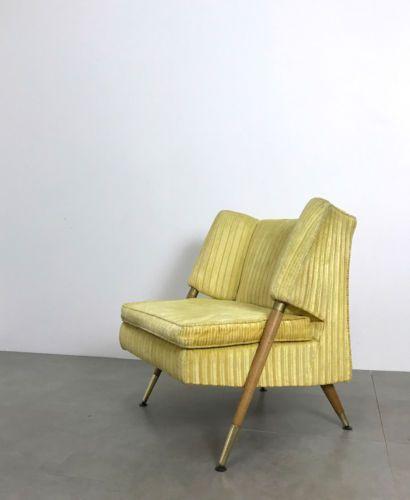 Vintage Italian Style Mid Century Modern Wood Amp Brass Lounge