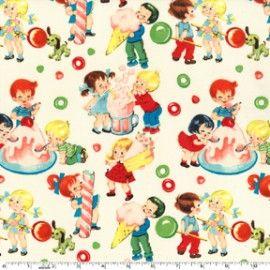 Stof van Michael Miller  Retro kids met snoep, taart en ijsjes