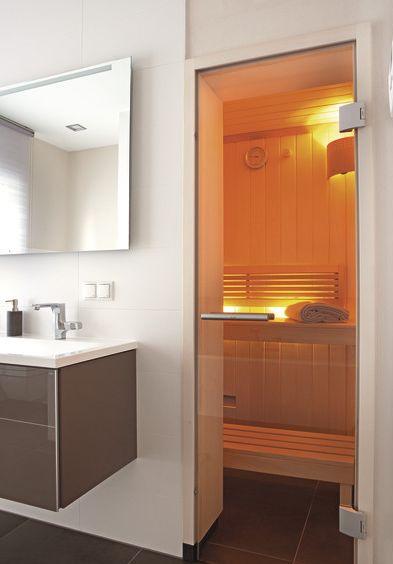 5-eck Sauna, Blockbohlensauna, Fenster, Glastüre Sauna - sauna fürs badezimmer