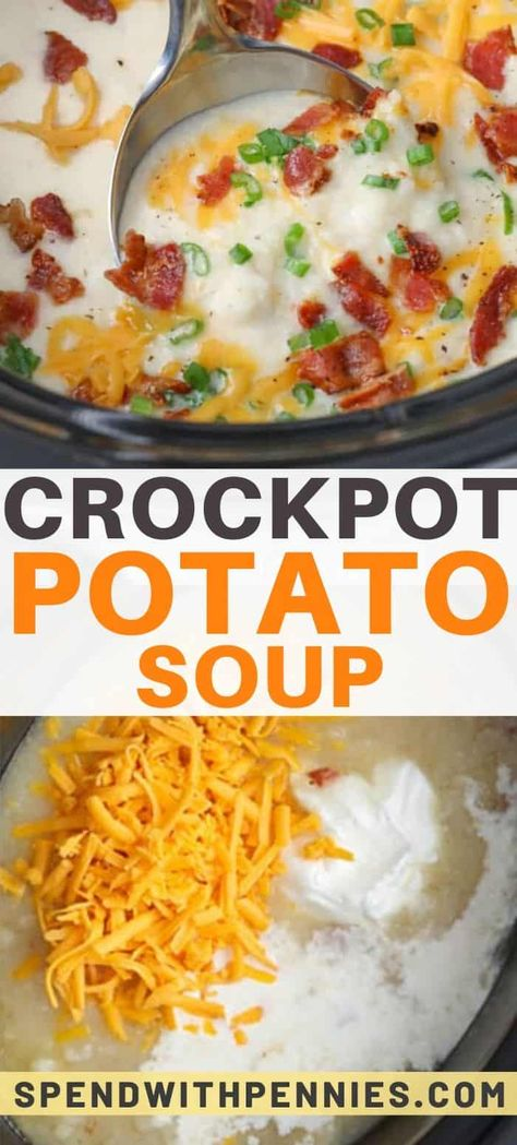 This easy flavorful Crockpot potato soup recipe is one of our favorite winter soups. The slow cooker is filled with potatoes & other creamy ingredients, then the soup is topped with favorite potato toppings like bacon & cheddar cheese. Crock Pot Recipes, Crock Pot Soup, Crockpot Dishes, Crock Pot Cooking, Slow Cooker Recipes, Cooking Recipes, Crockpot Potato Soup Recipe, 54th Street Potato Soup Recipe, Crockpot Recipes With Potatoes