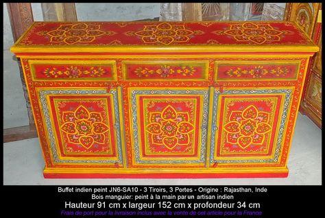 Buffet rouge embossed 3 portes Meuble indien et décoration