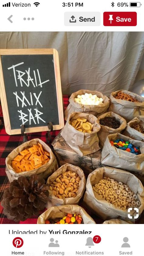 Trail mix bar for fall birthday or woodland theme party