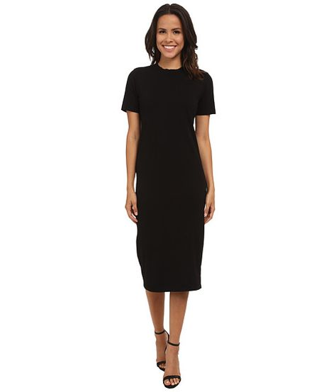 14e4e78e33 Michael Stars Cotton Lycra Short Sleeve Crew Neck Midi Dress Black -  Zappos.com Free Shipping BOTH Ways