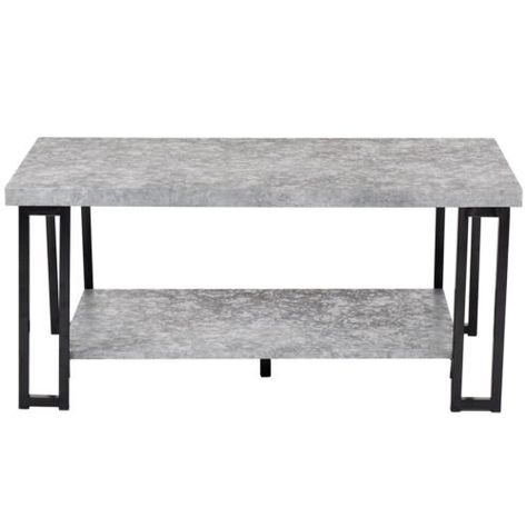 Wood Coffee Table Metal Frame Accent Cocktail Table w// Storage Shelf