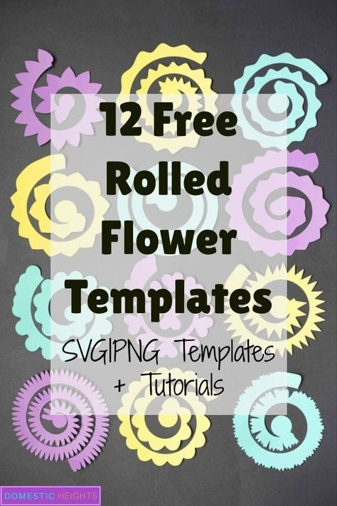 12 Free rolled flower svg Templates - DIY Paper flowers - DOMESTIC HEIGHTS <br> Free set of Cricut flowers SVG templates. Free rolled paper flower SVG for commercial use. Rolled Paper Flowers, Paper Flower Art, Flower Svg, Paper Flowers Craft, Diy Flowers, Felt Flowers, Pro Flower, Potted Flowers, Fabric Flowers
