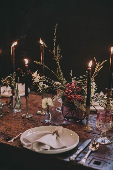Colour Inspiration For A Dark & Moody Wedding - Polka Dot Bride Colour Inspiration For A Dark & Moody Wedding includes teal and marsala, black and gold, black and raspberry, mauve and teal and many more combinations.