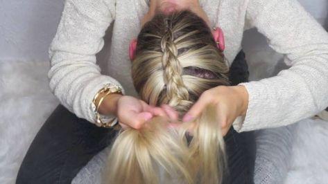 Upside Down Dutch Braid into a Bow on Medium Hair - YouTube # upside down dutch Braids