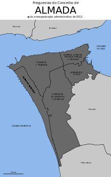 Almada Wikipedia A Enciclopedia Livre Almada Portugal Mapa