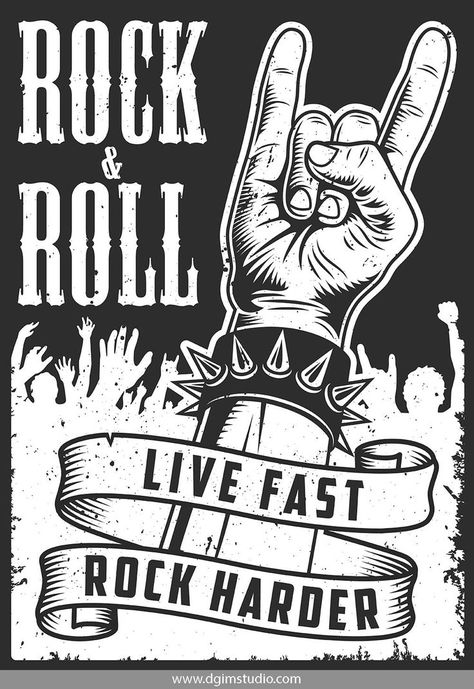 Vintage monochrome rock and roll poster with rock&roll hand sign and dancing crowd. Click to the link to find more rock&roll posters. #vectorillustration #vector#illustration #design #dgimstudio #music #rock #roll #rock&roll #party #club #concert #hand #c