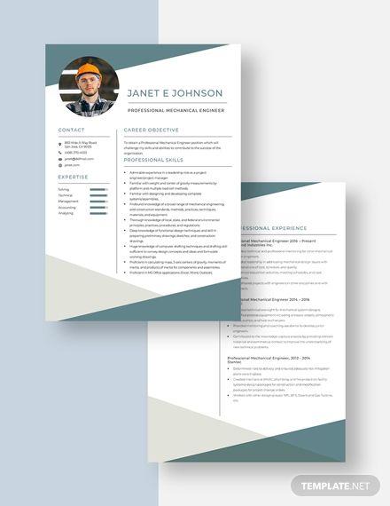 Professional Mechanical Engineer Resume Cv Template Word Apple Pages Mechanical Engineer Resume Engineering Resume Resume Template Professional