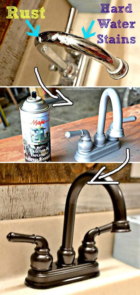 Remodel your bathroom starting from a faucet that has get spray painting.   30 Low-Budget Makeovers You Could Do With Spray Paint