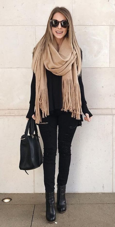 Brushed Long Fringed Scarf Stylish casual oversized black sweater for fall women street style outfit. Classy chic black hole thin jeans this winter. Simple classic black booties leather heels with fashion simple black handbag fabulous trendy ootd.