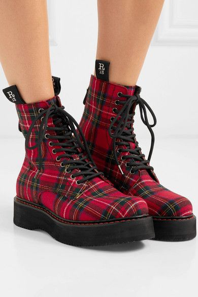Rot Ankle Boots Aus Canvas Mit Tartan Muster R13 In 2020 Boots Leather Boots Vegan Boots