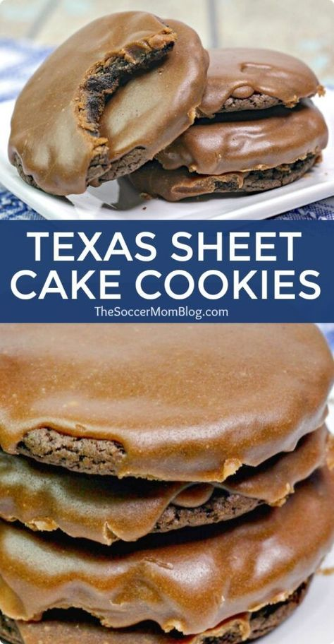 These Texas Sheet Cake Cookies are a fun twist on a classic Texas recipe - a chocolate lover's dream come true! cookies Texas Sheet Cake Cookies (Chocolate Cake Mix Cookies with Fudge Icing) Chocolate Cake Mix Cookies, Cake Cookies, Chocolate Desserts, Cupcakes, Cookie Cake Icing, Cake Mix Fudge, Brown Sugar Cookies, Cream Cookies, Chocolate Lava Cake