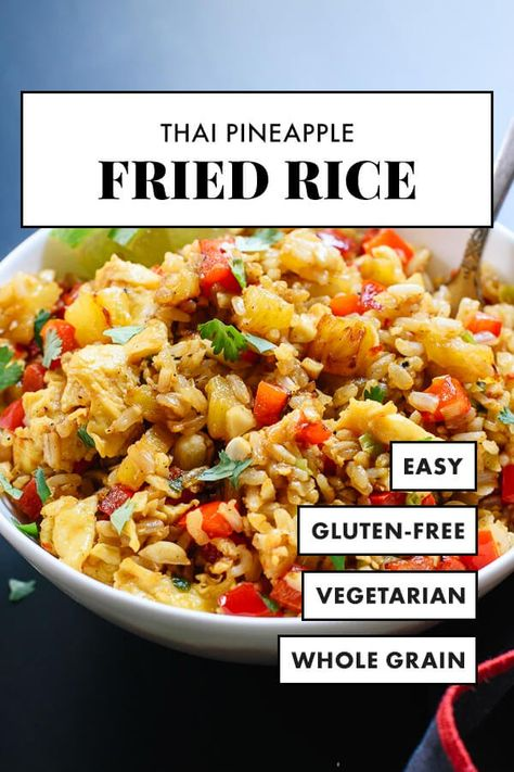 This Thai pineapple fried rice is a healthy and quick, weeknight vegetarian dinner! This sweet and spicy fried rice features fresh pineapple, red bell pepper, cashews and cilantro. #cookieandkate #vegetarian #weeknight #healthyrecipe #friedrice