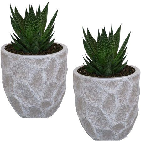 Sunnydaze Fiber Clay Carved Planter Indoor Outdoor Light Gray Set Of 2 9 Inch Walmart Com Clay Planters Flower Pots Flower Planters