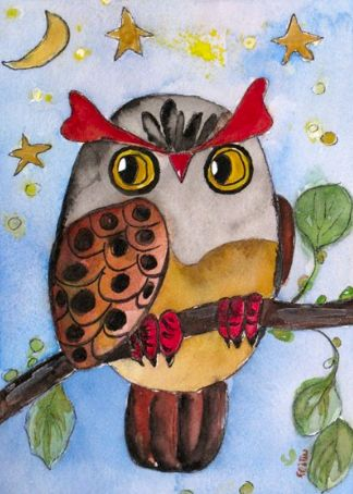 Owl by Fei Bliss Available as Necklace and Greeting Card