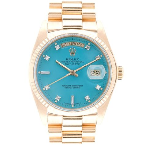 One of my favourite Rolex watches without a doubt! ROLEX All-Original Blue Stella Diamond Dial Yellow Gold Day-Date Extremely rare Stella