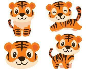Animals Clipart Etsy Es Cartoon Tiger Tiger Cartoon Animal Vector
