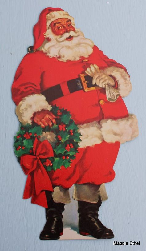 CHRISTMAS SANTA TREE ANGEL CHILDREN KINDERN EMBOSSED GERMAN PAPER SCRAP CARD