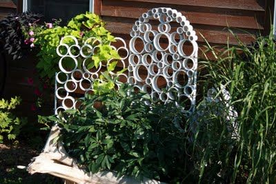 I love this idea of using PVC piping to make a mini-trellis/garden sculpture.