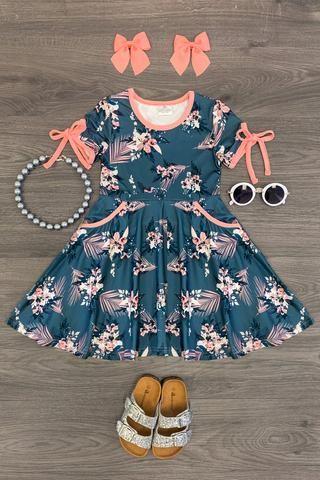NEW Girls Childrens Toddler Summer Party Cotton Flower Pocket Dress